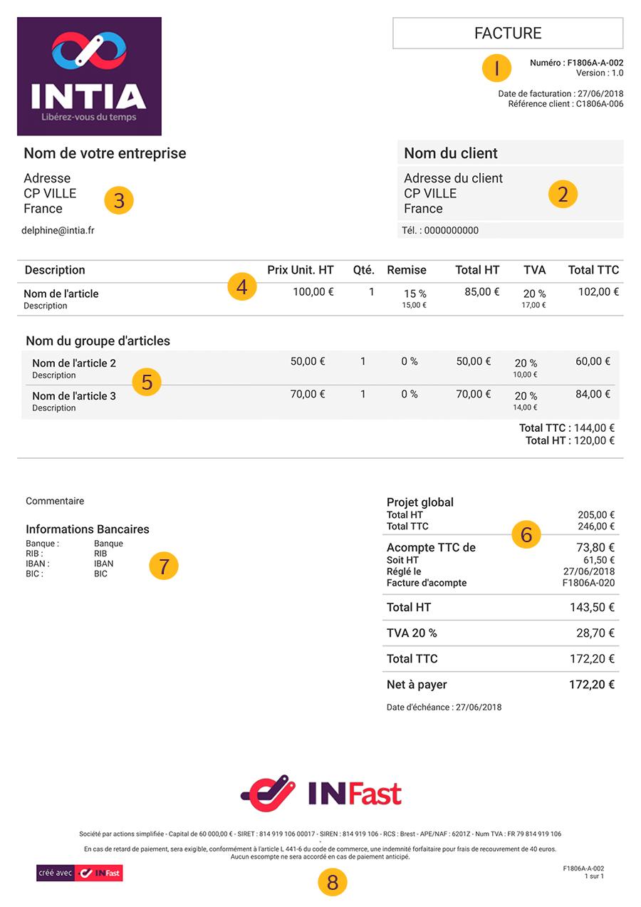 Modèle de facture INFast