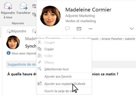 ajouter un contact outlook office