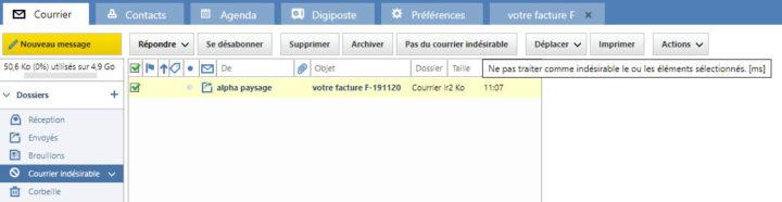 retirer un e-mail des spams sur laposte.net