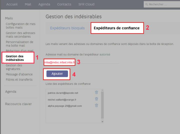 Approuver un expediteur sur webmail SFR