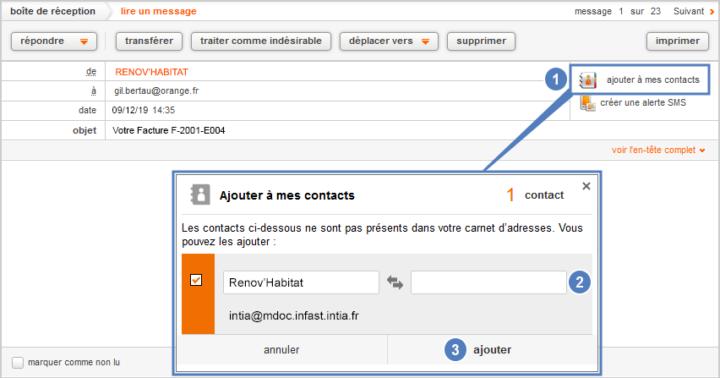 Ajouter un contact le mail orange
