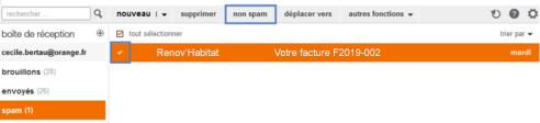 retirer un e-mail des spams sur le mail orange